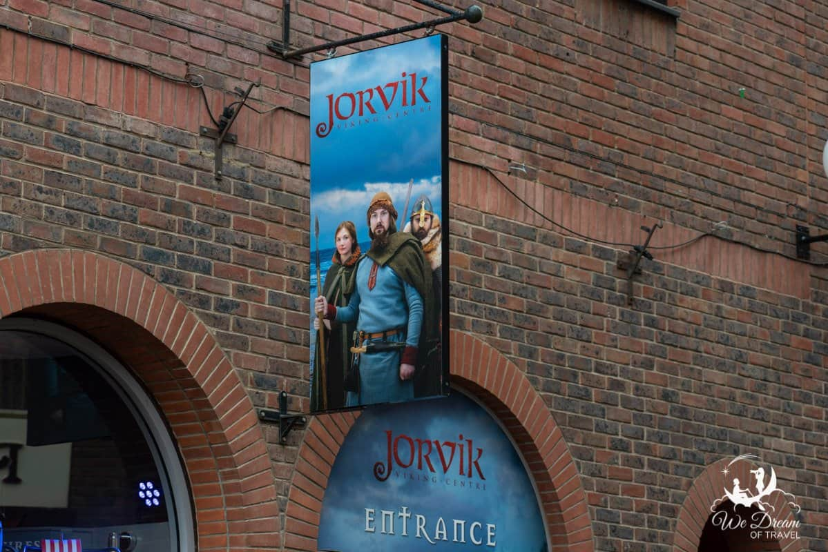 Sign for Jorvik Viking Village - one of the top attractions in York England.