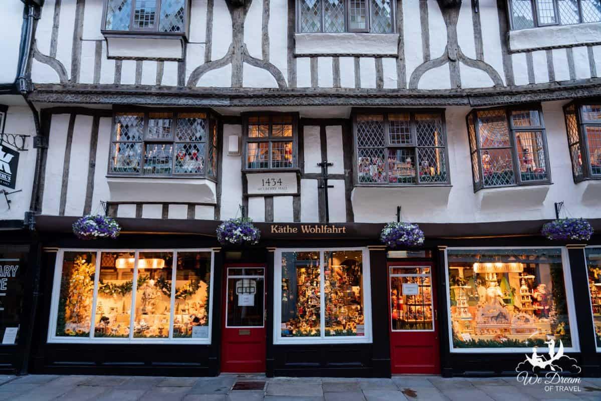 Kathe Wohlfahrt christmas store front in York England