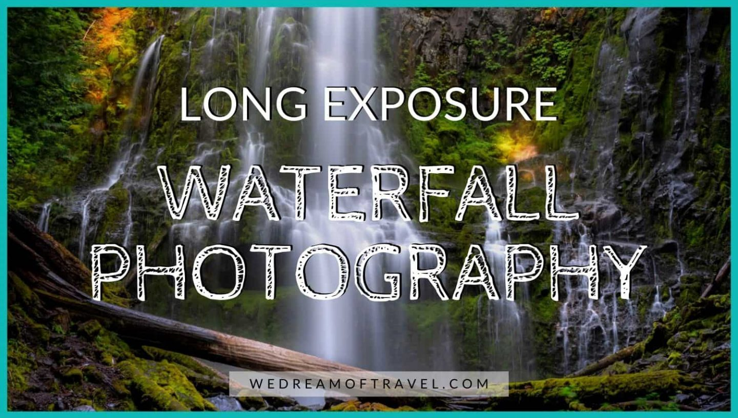 "Cover image for ""Long Exposure Waterfall Photography"" blog post.  Text overlaying a long exposure image of a waterfall and rainbow."