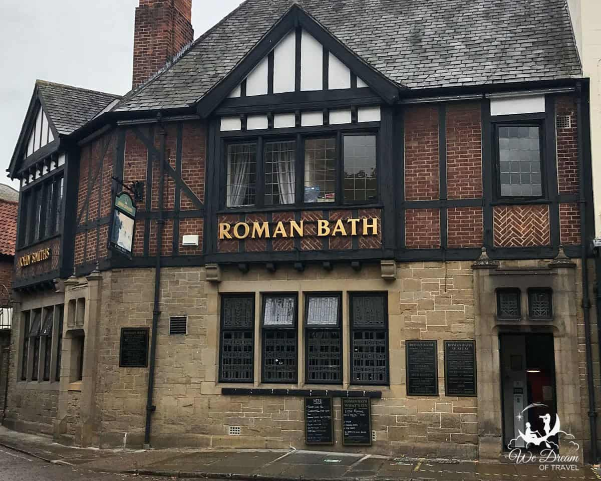 Outside of Roman Bath pub and museum