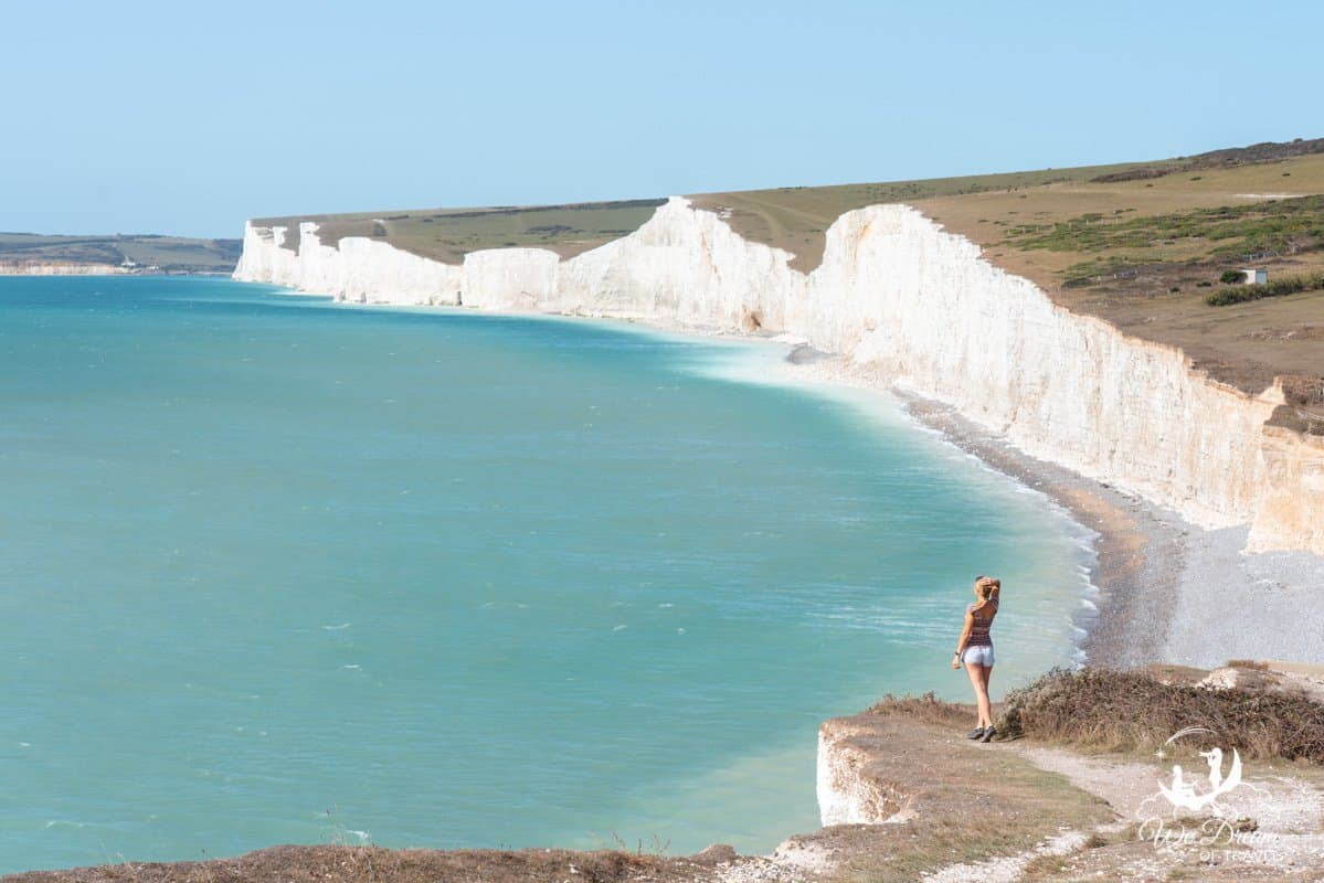 Sophie taking in the view of the iconic white cliffs known as the Seven Sisters.