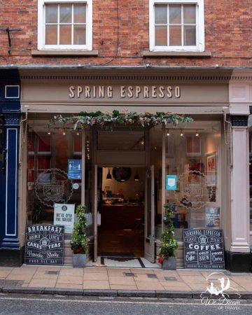 Front of Spring Espresso coffee shop in York - one of the best places for coffee in York