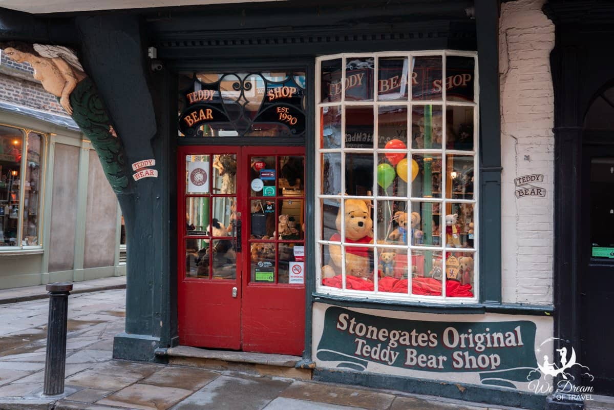 Stonegate's Original Teddy Bear Shop store front in York England
