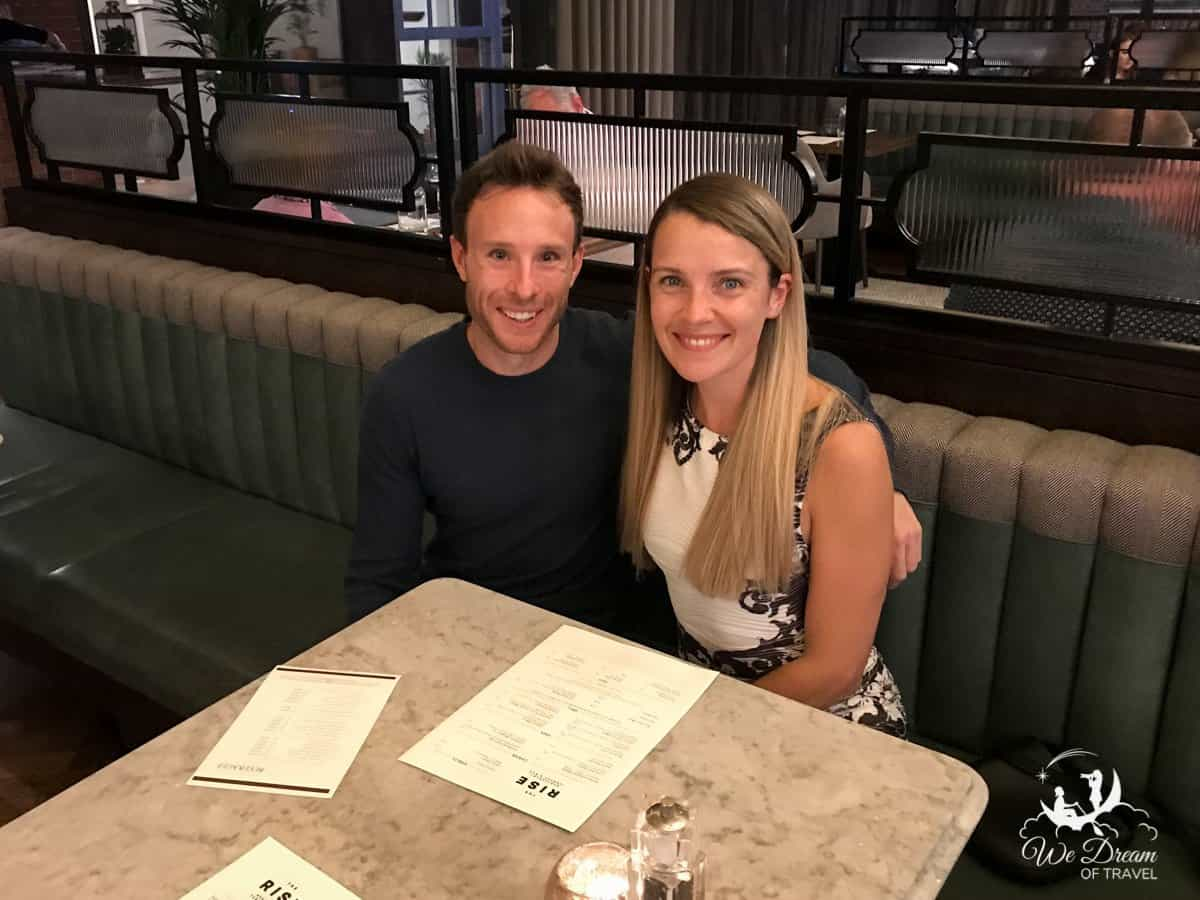 Adam and Sophie from We Dream of Travel on their 3 year anniversary at The Rise restaurant York
