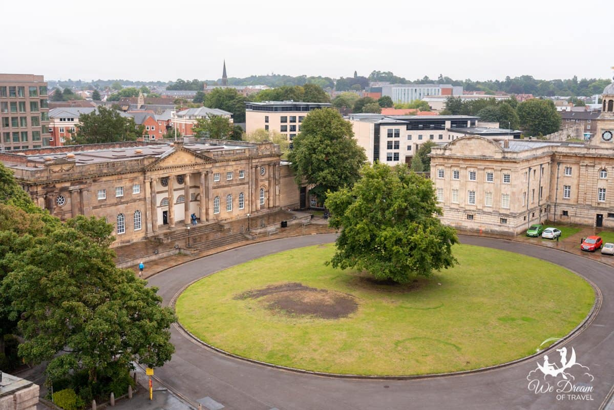 York Castle Museum as seen from the top of Clifford's Tower.