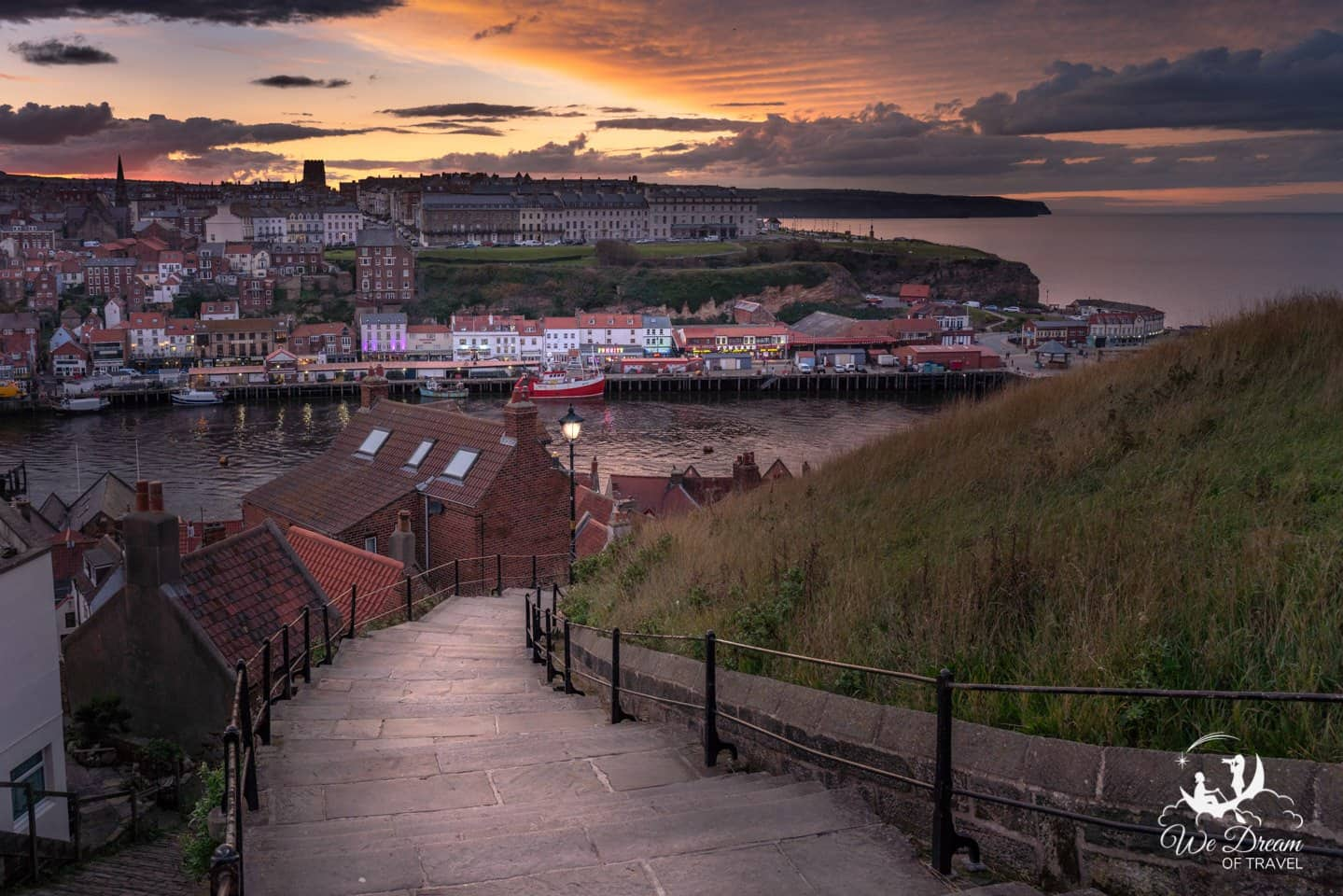 Sunset over Whitby from the 199 steps viewpoint.