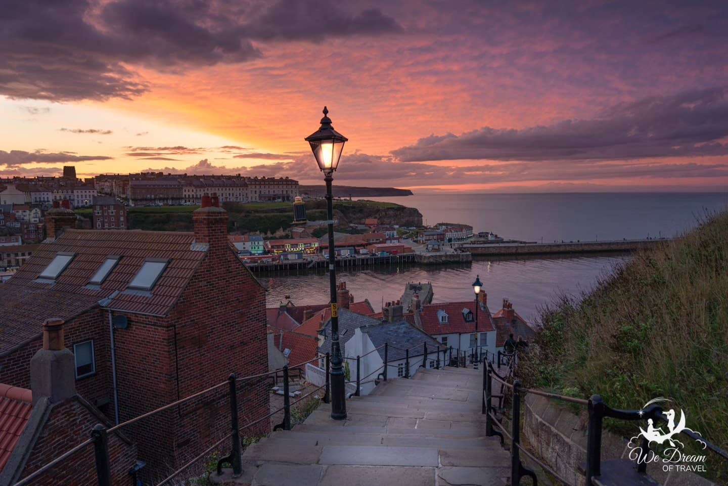 Sunset from the 199 steps Whitby Yorkshire England