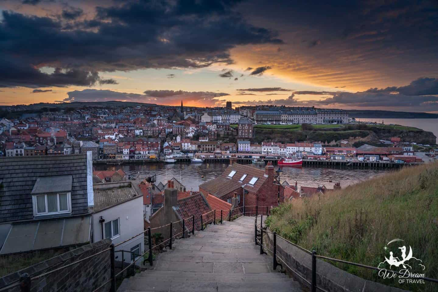 Sunset over Whitby from 199 Steps.