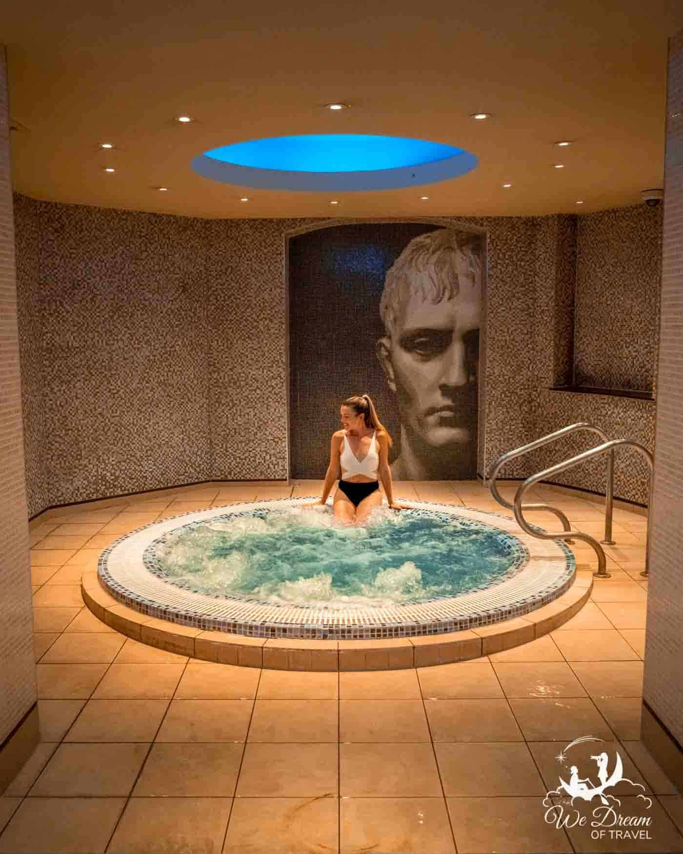 Enjoying the hot tub at The Grand hotel in York