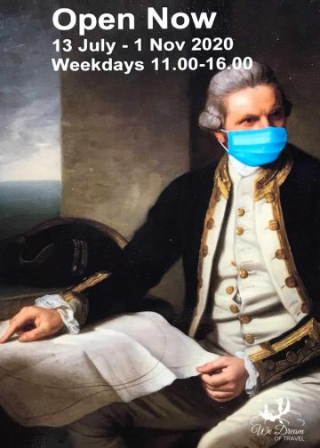 Image of Captain Cook Memorial Museum entrance sign - Captain Cook with a mask due to current pandemic restrictions