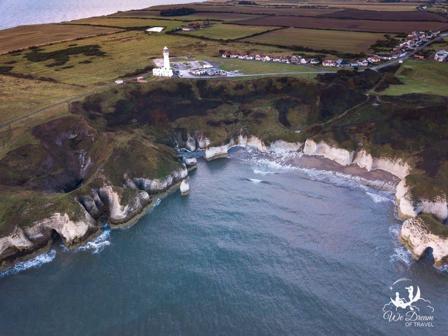 Drone photo of the Flamborough Head Lighthouse