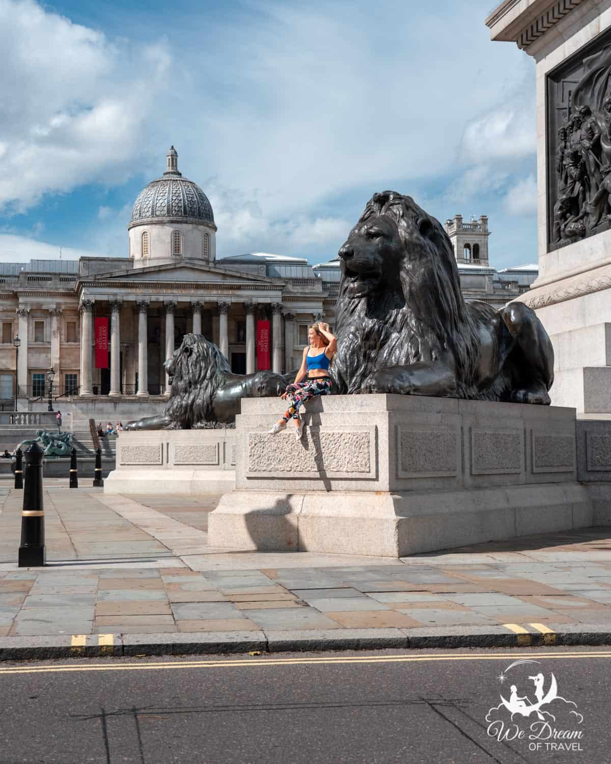 Brass lions in front of the National Gallery at Trafalgar Square London