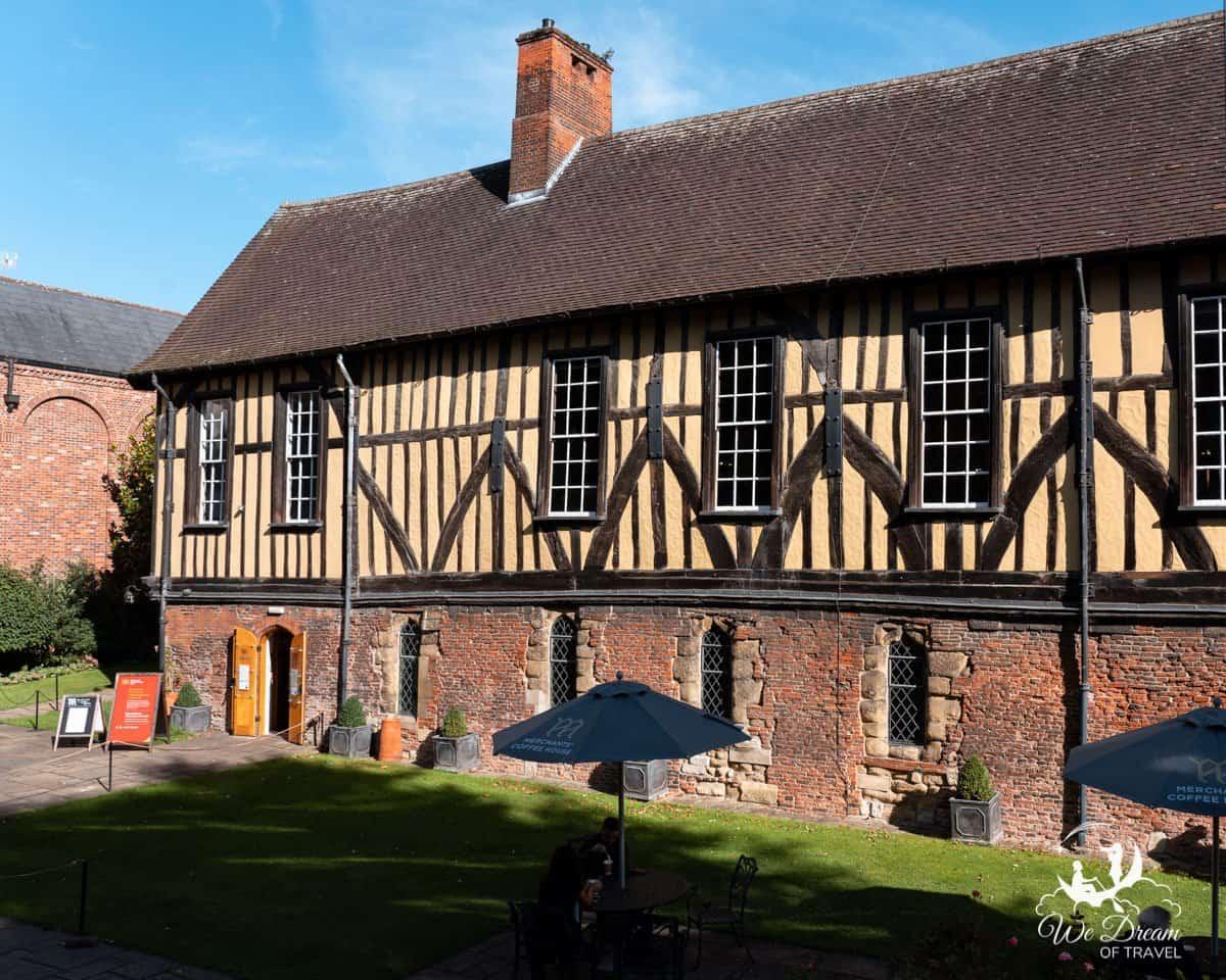 Beautiful half timbered exterior of Merchant Adventurers Hall in York