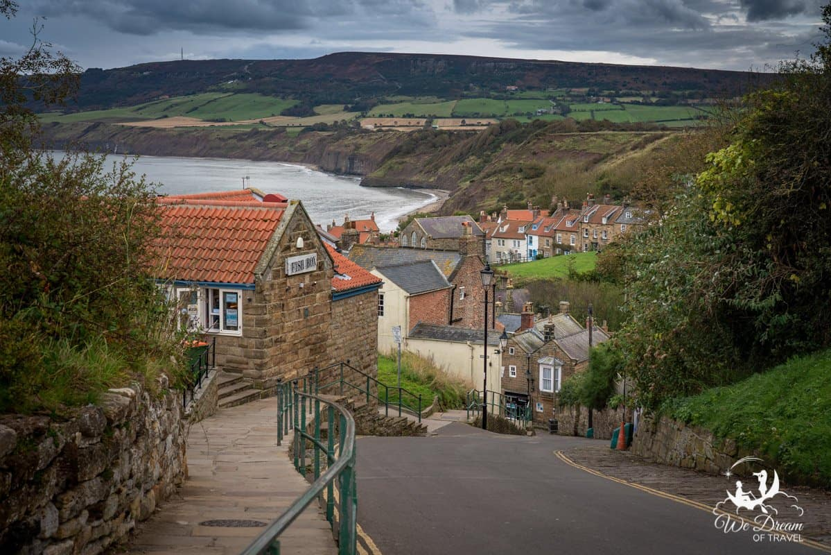 Robin Hoods Bay village in England with coastal views from the top of the hill