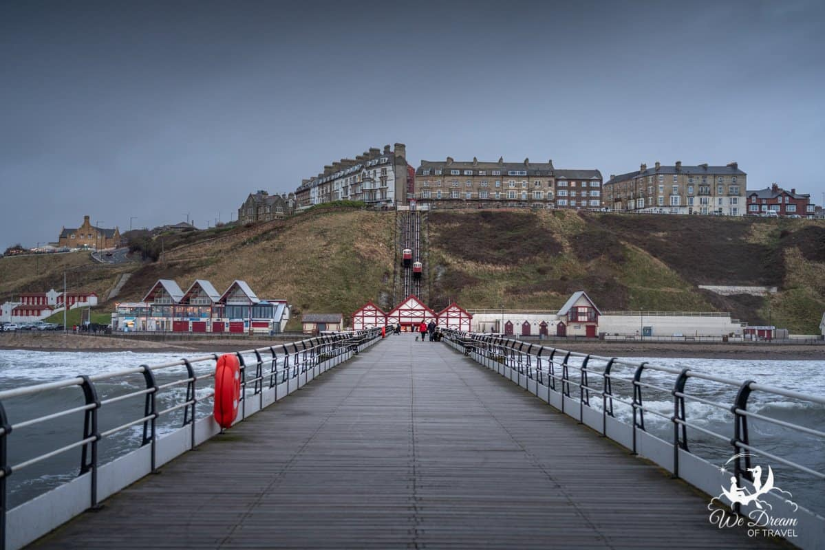 The pier and cliff lift at Saltburn by the Sea.