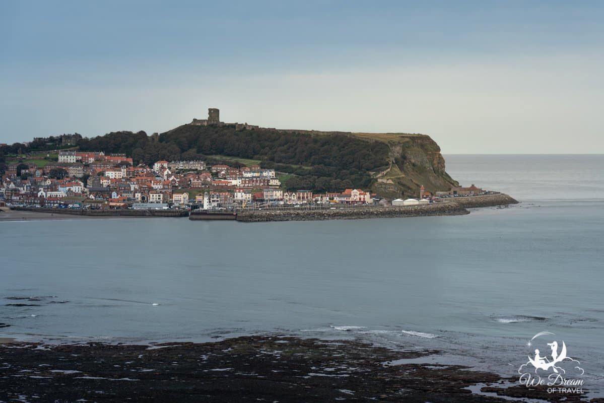 View of Scarborough castle and town.