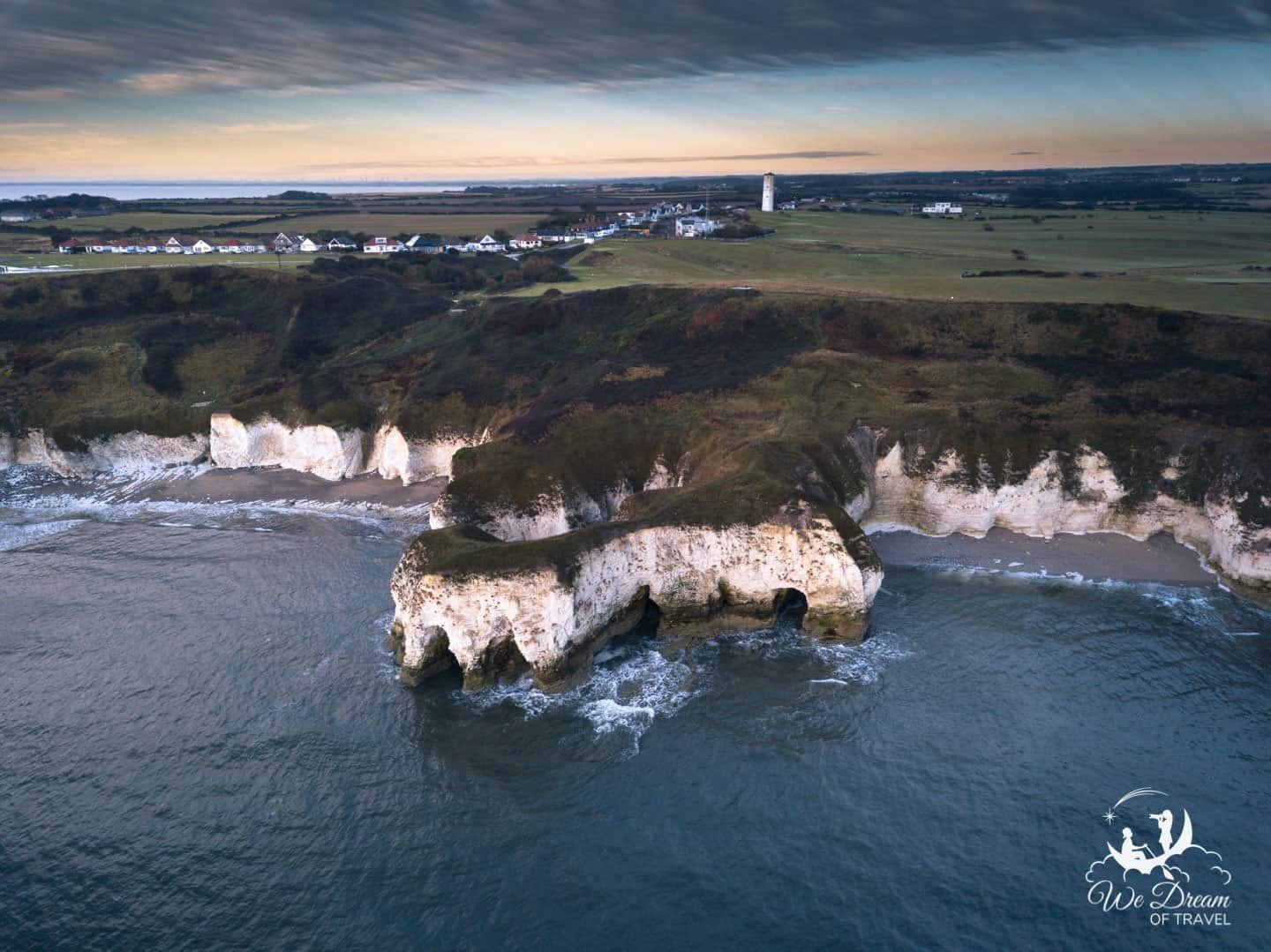 Aerial photograph of Flamborough Cliffs Yorkshire from a drone