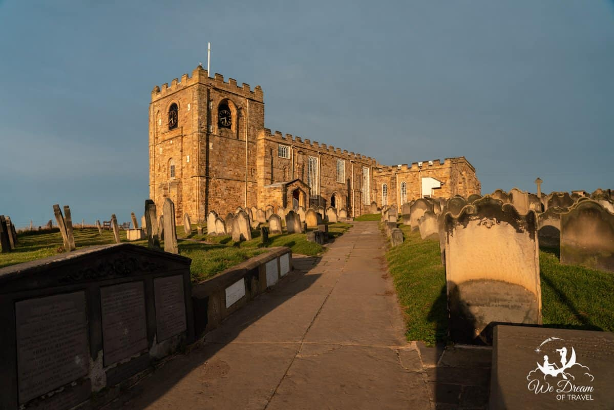 St Mary's Church in Whitby at golden hour sunset