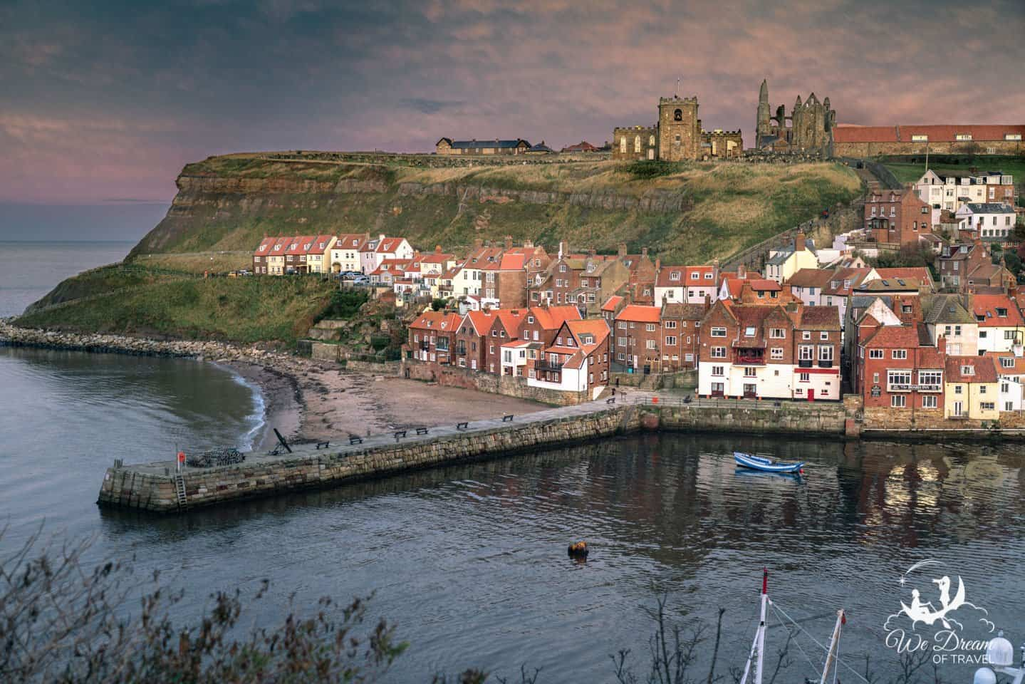 Sunset over St Mary's Church, Whitby Abbey and Whitby Harbour.