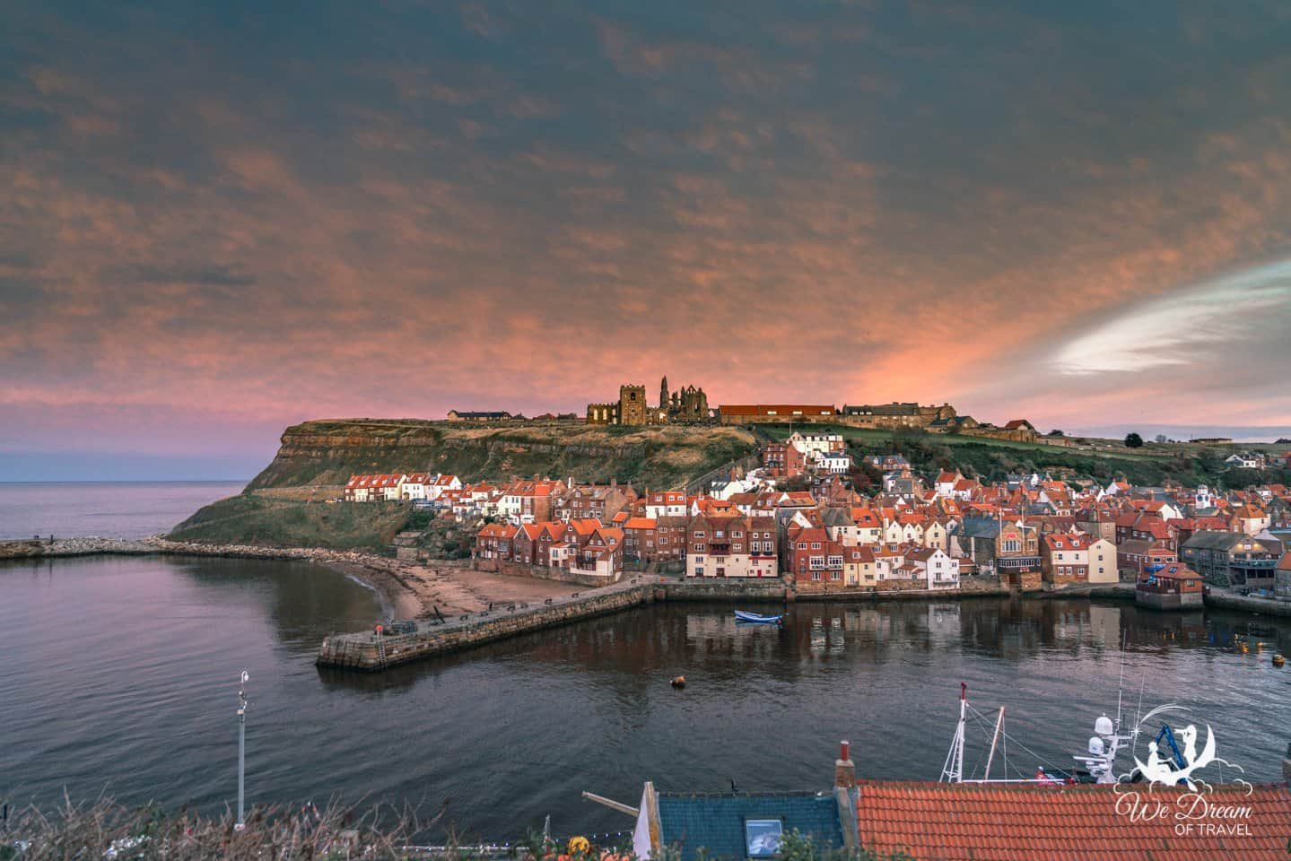Sunset over Whitby Abbey from East Terrace.