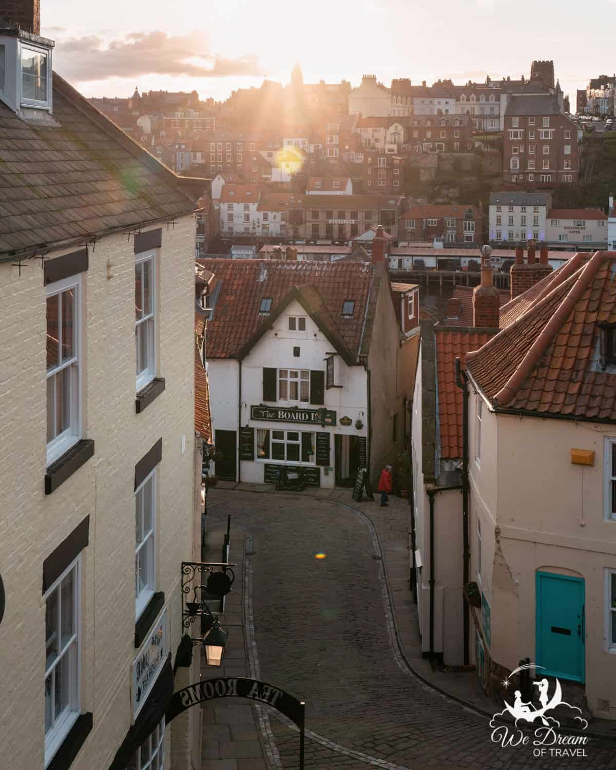 Looking down at The Board Inn from 199 steps Whitby