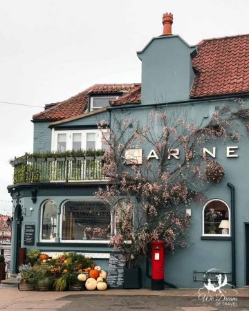 Autumn display outside the Marine Restaurant in Whitby