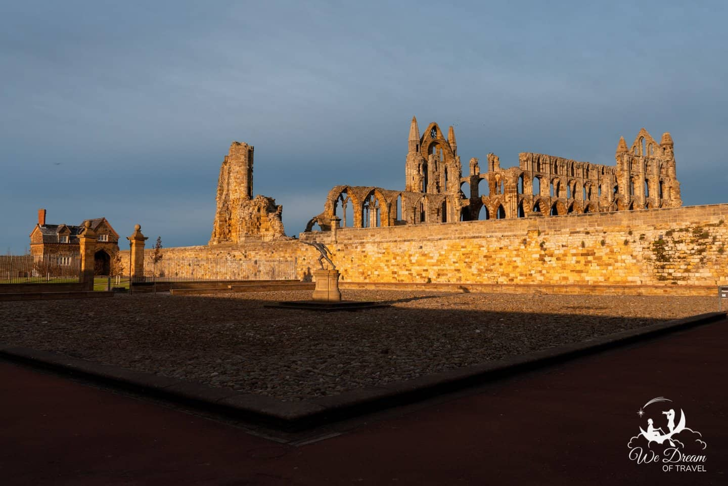 The view of Whitby Abbey from the YHA courtyard.
