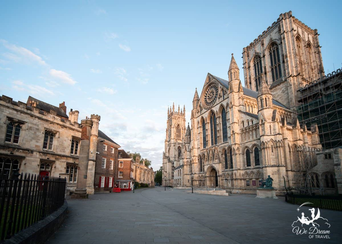 The magnificent exterior of the York Minster at sunrise