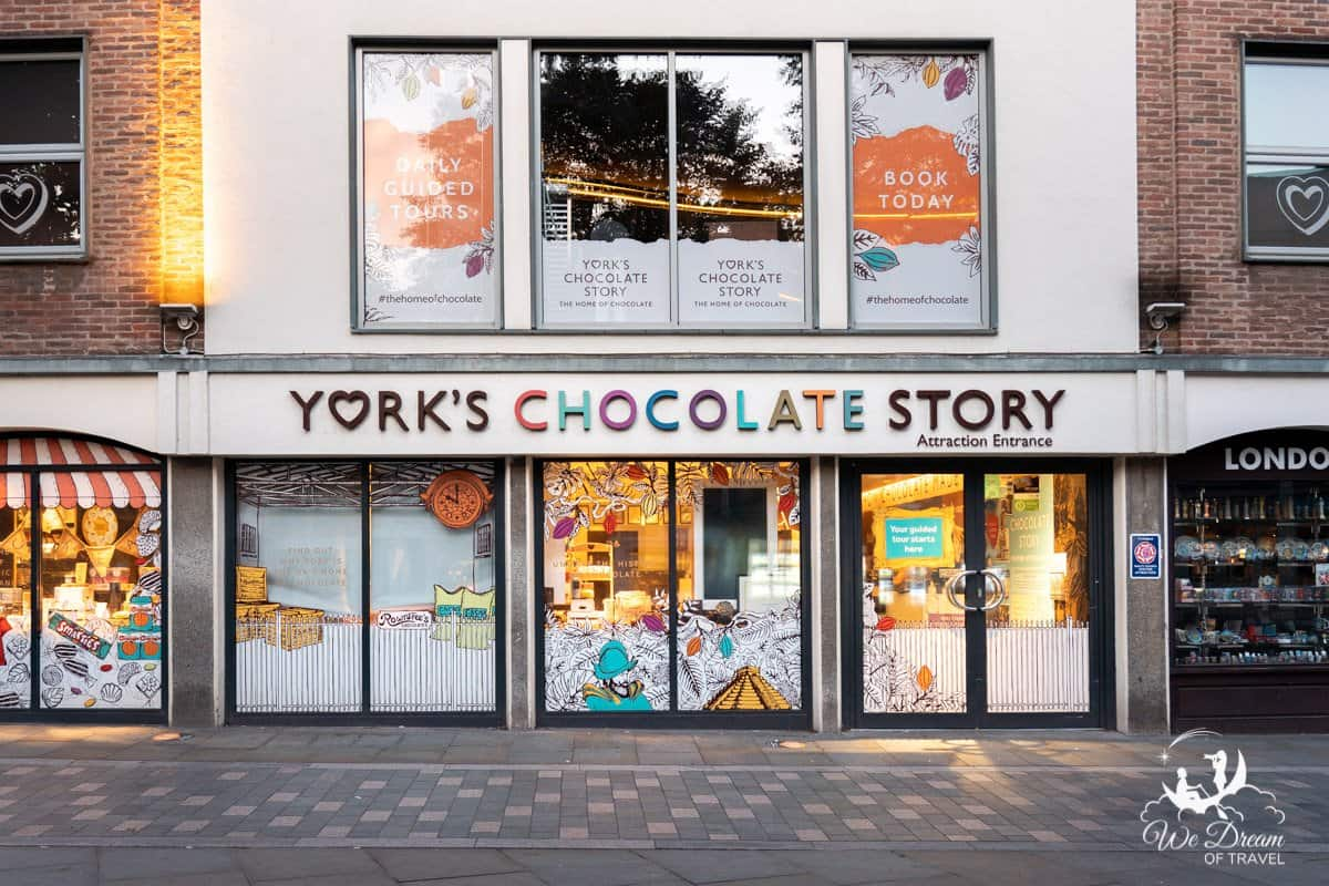 Exterior of York's Chocolate Stoy - one of the best things to do in York with kids
