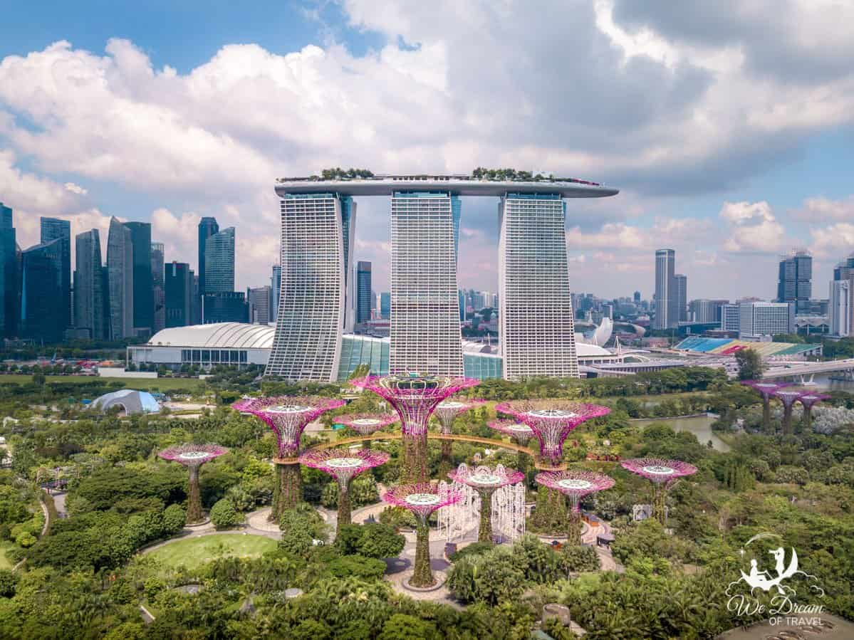 An aerial view of Gardens by the Bay and Marina Bay Sands in Singapore