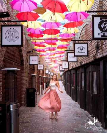 The umbrella canopy in Camden Stables Market provides one of the most Instagrammable spots in London