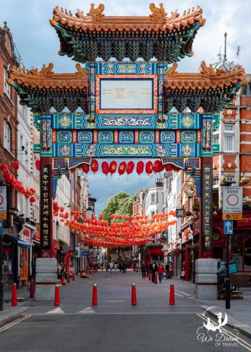 Ornate gate and lanterns in Chinatown London