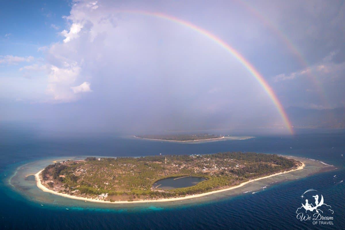 A double rainbow over the Gili Islands, Indonesia.
