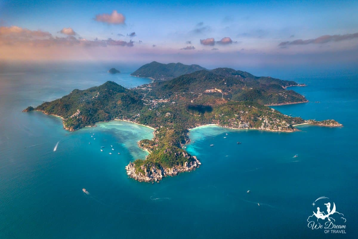 Drone aerial view of Koh Tao, Gulf Islands, Thailand