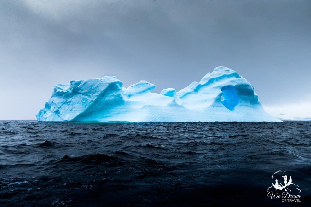 Iceberg floating on the ocean in Antarctica