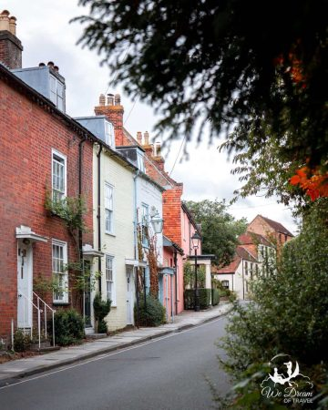 Colourful houses line the streets of Lymington town in the New Forest, Hampshire
