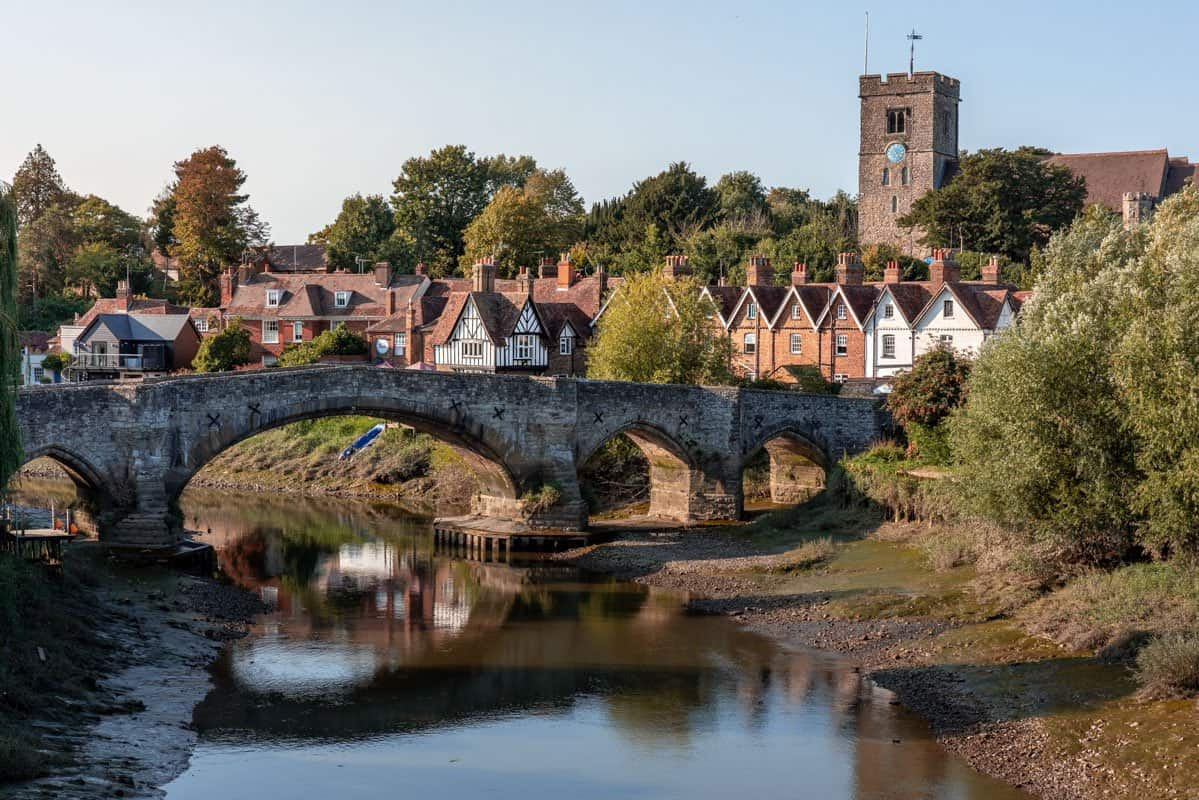 Medieval bridge crossing the River Medway in the ancient English village of Aylesford in Kent