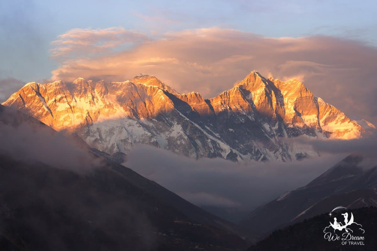 Sunset over Mt Everest in the Himalaya Mountains, Nepal