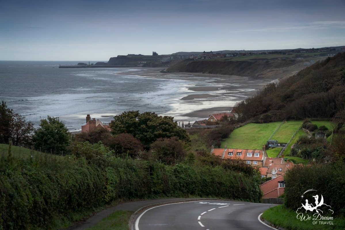 Beautiful English coastal village - Sandsend in Yorkshire overlooks the sea and Whitby