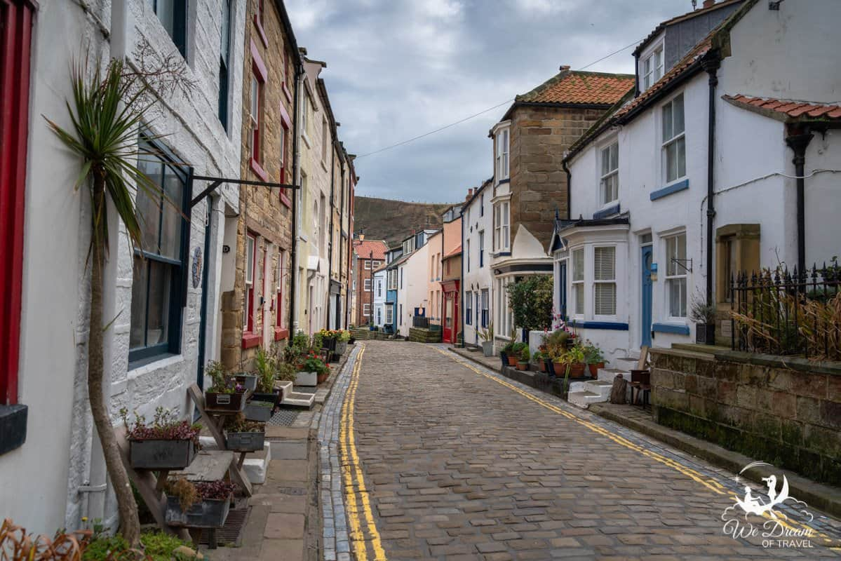 Scenic narrow streets in Staithes.