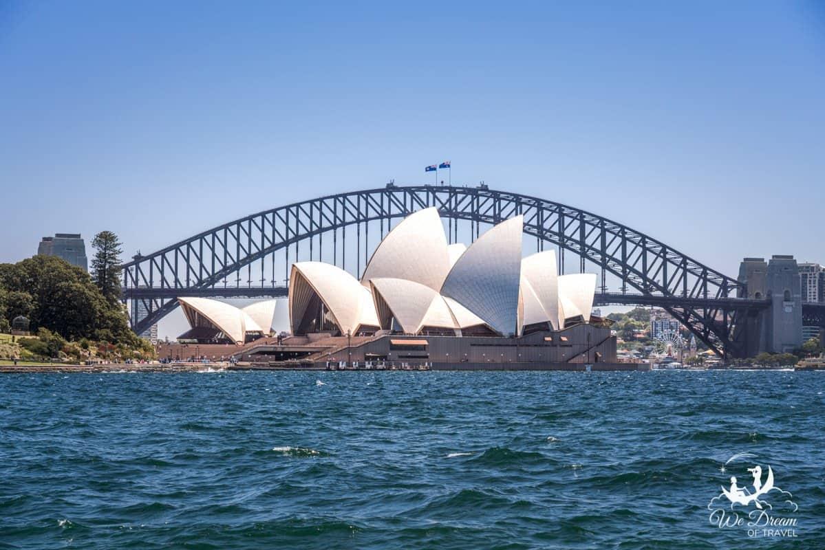 The iconic Sydney Opera House and Sydney Bridge.