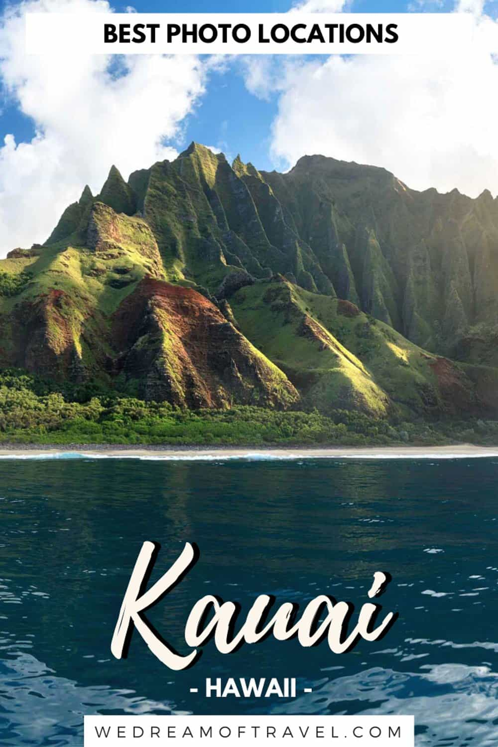 Looking for the ultimate guide to the best photo spots in Kauai Hawaii? This photography guide will help you discover all the best places to photograph in Kauai. From the epic Na Pali coast to pristine golden sand beaches, lush tropical landscapes, crashing waterfalls and the grand canyon of the Pacific. All the best places to see and things to do. #kauaihawaii #kauaiphotography