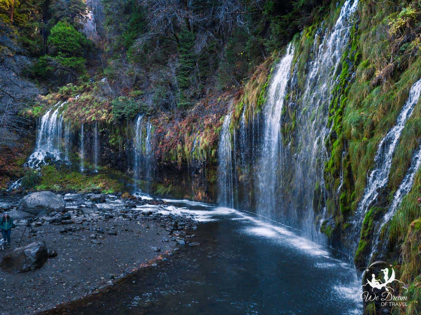 The impressive cascade of Mossbrae Falls is accessed by following train tracks for a mile.