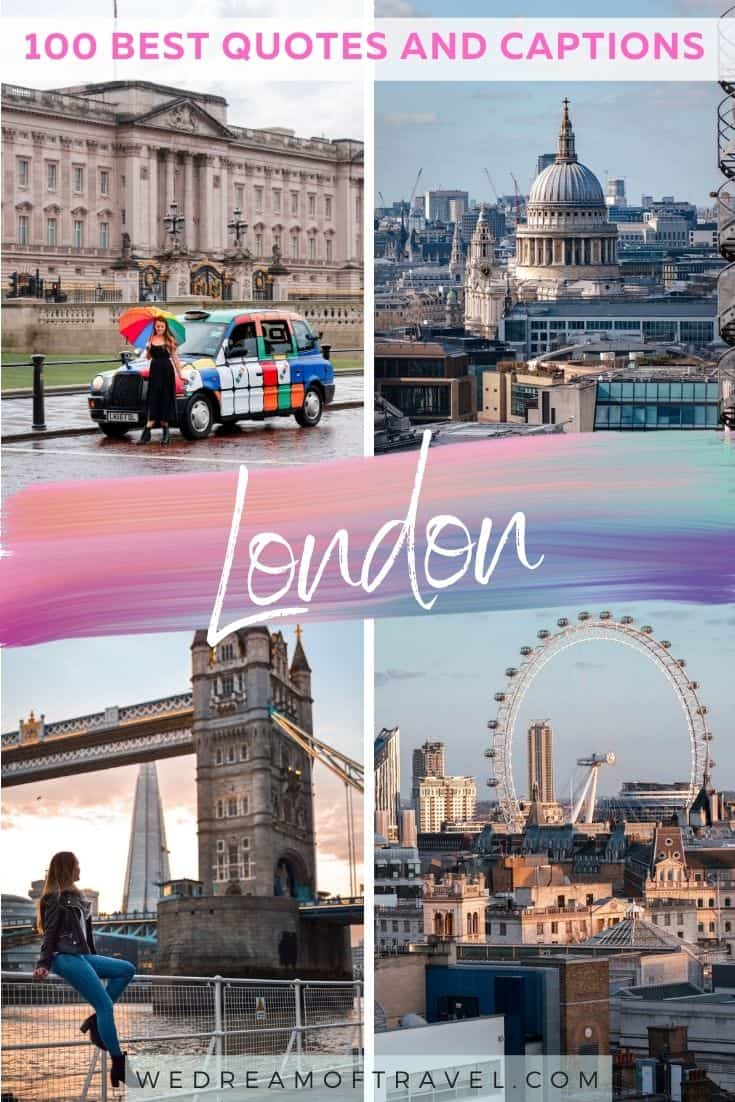 Looking for the best quotes about London?  Find the top 100 London quotes to inspire your next trip to the capital city. #londonquotes #quotesaboutlondon #london #londontravel #travelinspiration #travelquotes