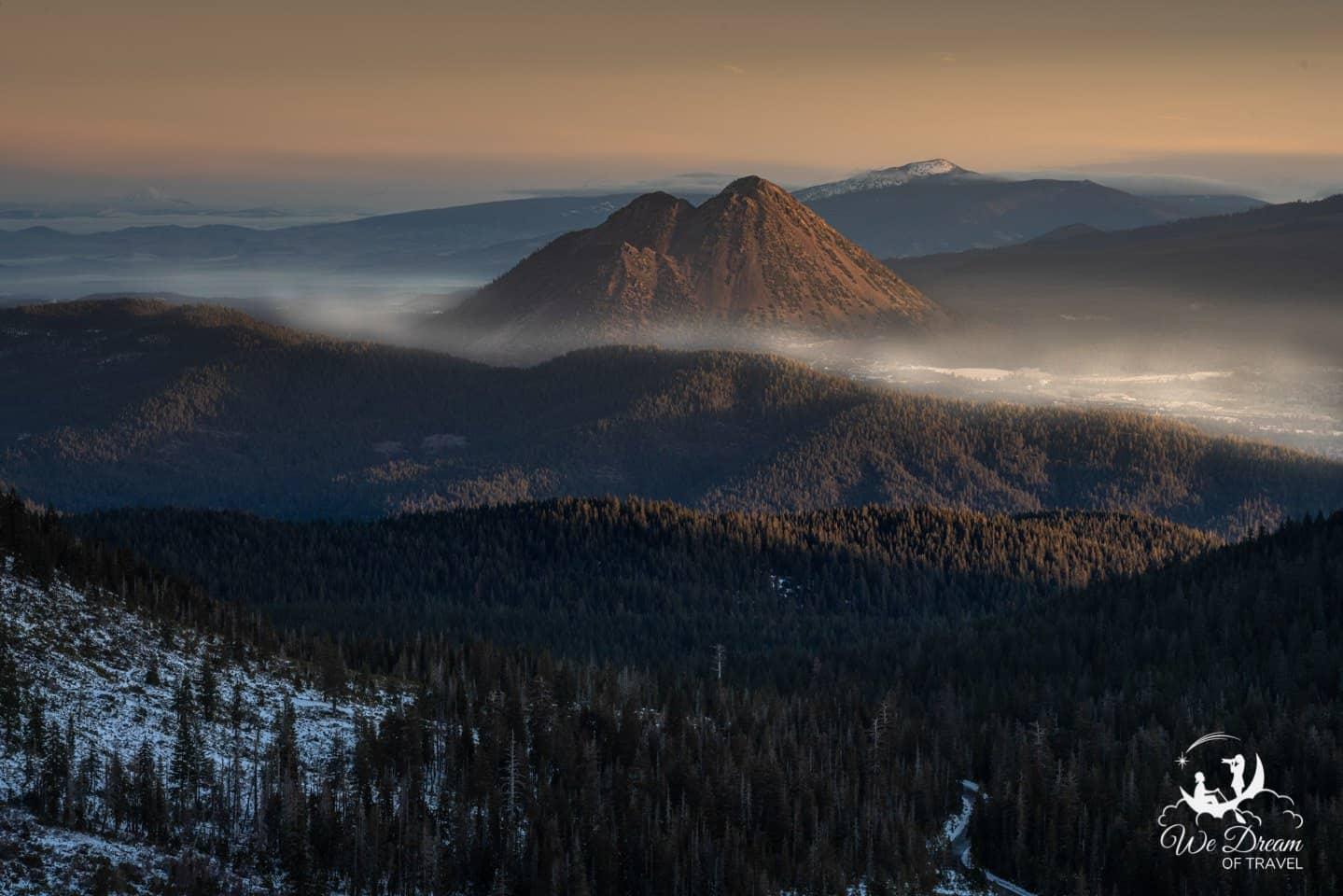 Black Butte bathes in morning light.