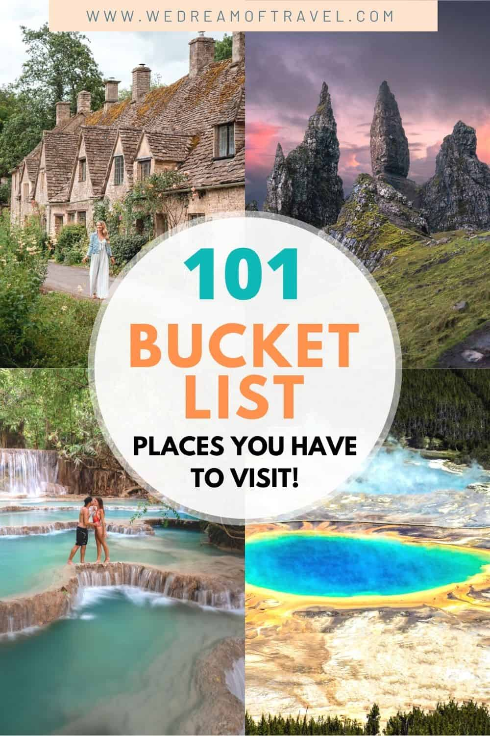 Looking to create your own travel bucket list? Find inspiration and wanderlust with over 101 dream destinations you need to visit at least once in your life. Discover hidden gems as well as iconic landmarks around the globe. Dream Destinations | Travel Bucket List | Travel Inspiration