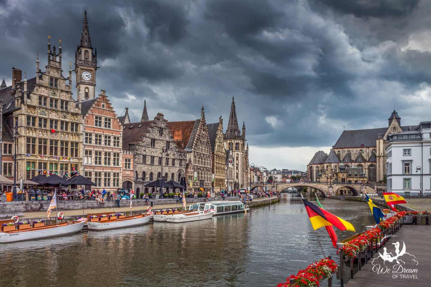 The moody weather and the gothic architecture of Ghent create a dramatic destination.
