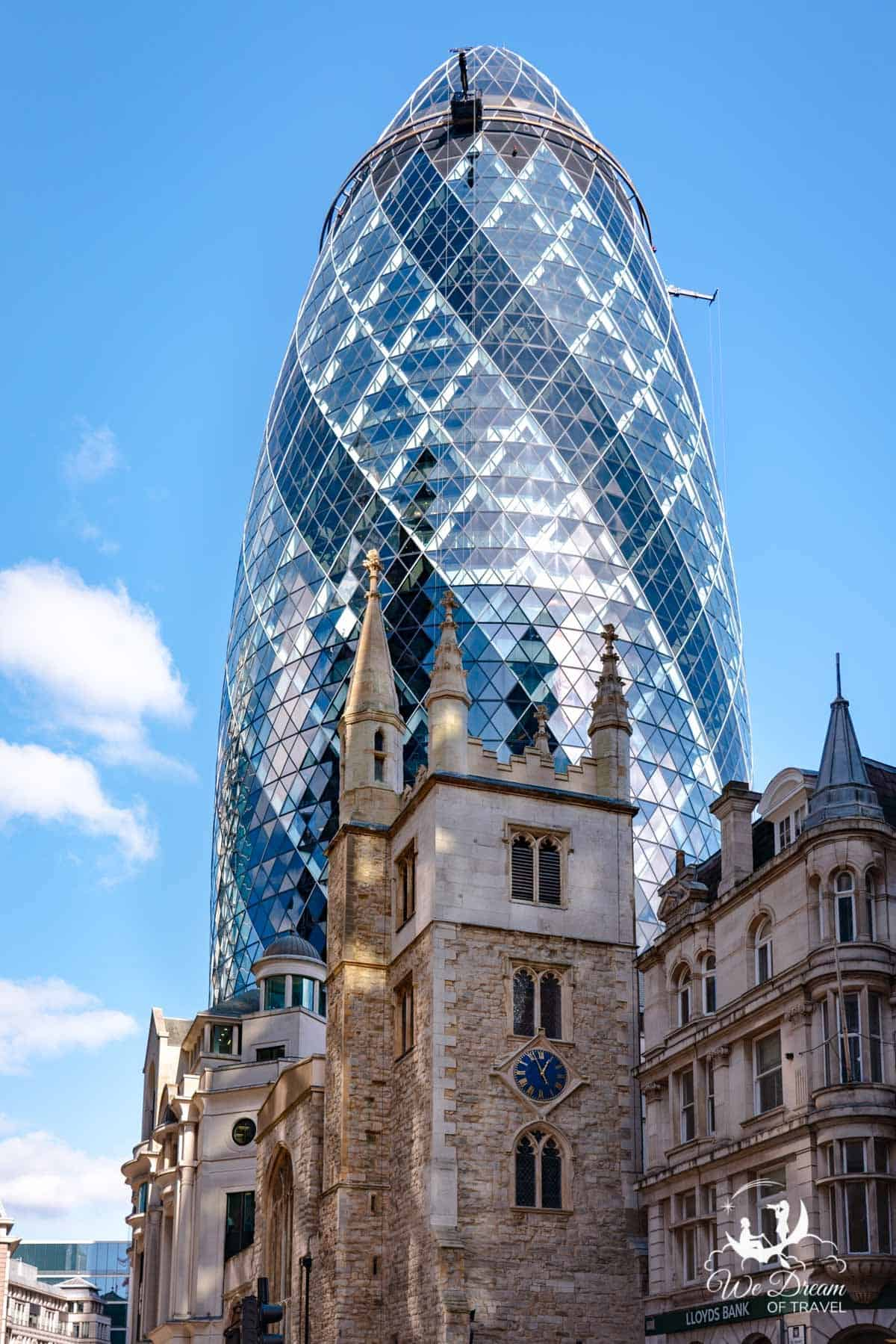 The Gherkin is one of the most famous buildings in London