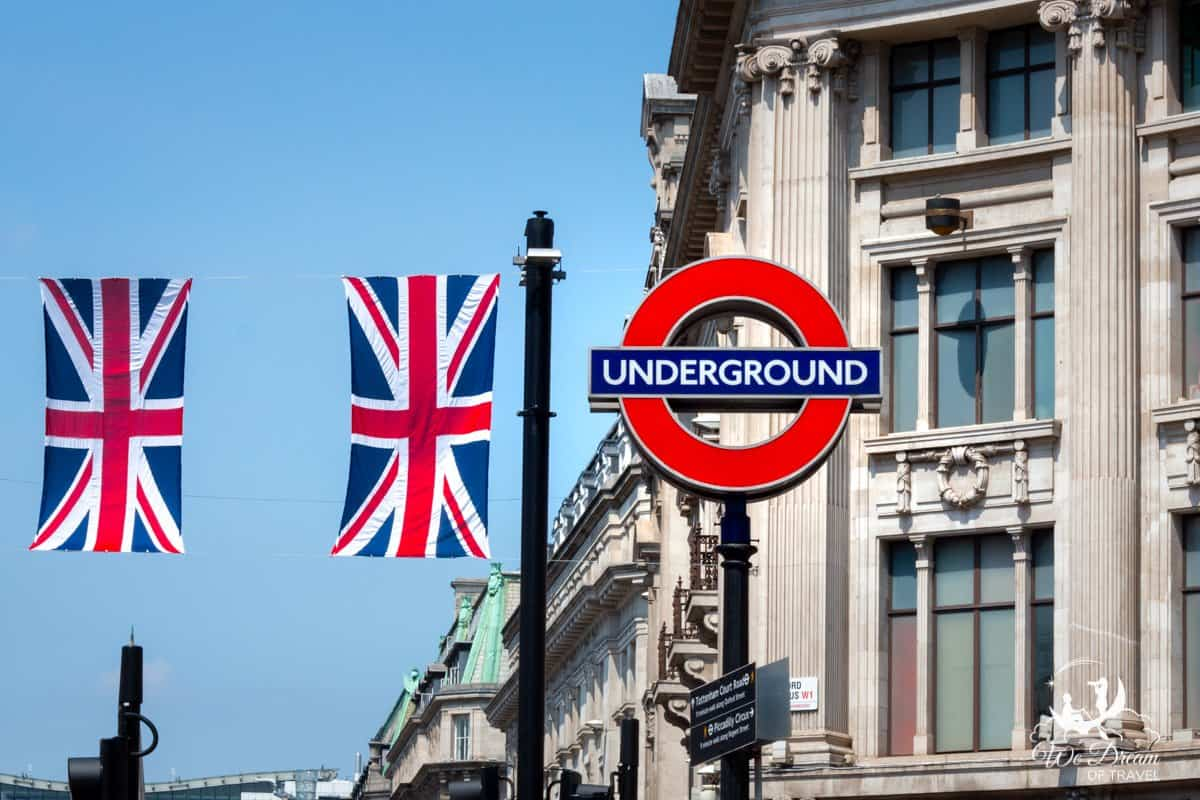 A sign for the London Underground, or Tube, an iconic london landmark