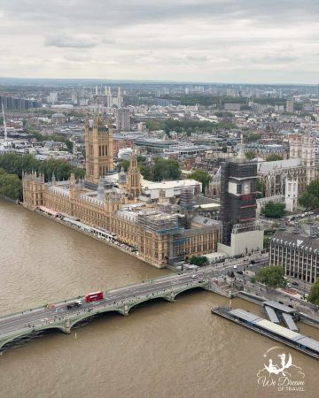 View over the River Thames of Westminster Bridge, Big Ben and the Houses of Parliament from the top of the London Eye